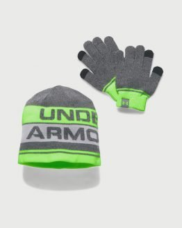 Čepice a rukavice Under Armour Boys Beanie Glove Combo 2.0 Šedá